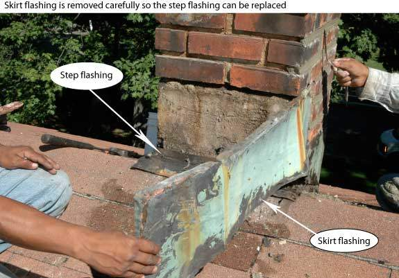 It is important that the flashing is well seated into the brick or stone. We serve all of Fairfield county.