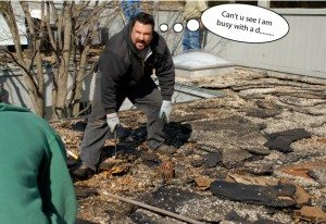 The hardest part of replacing an old roof is to clean and repair the existing drains.