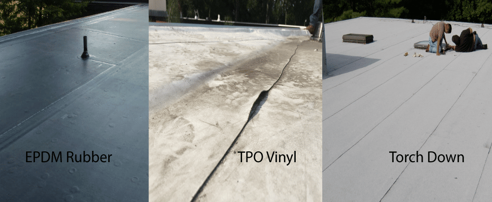 flat roof repair on EPDM, TPO Vinyl and MB Torch Down rubber roofs