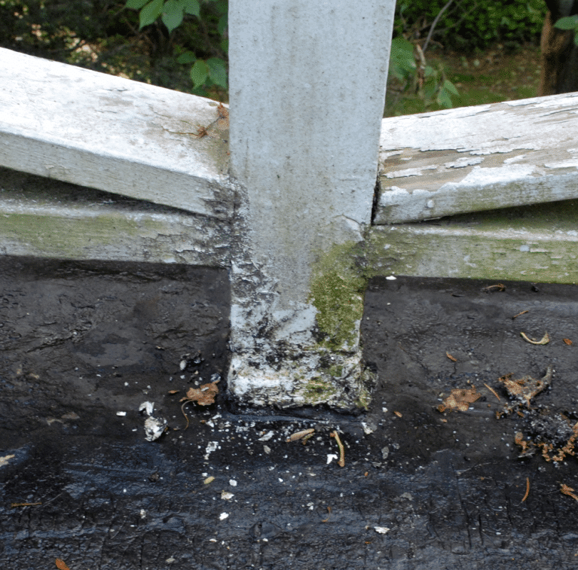 Post Railings on a flat roof were not flashed properly