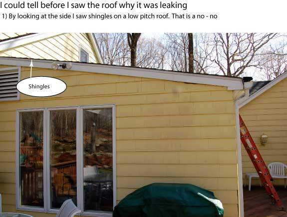 Shingles on a low pitch roof like this one is just not right.