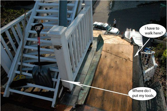 A top view of this small flat roof. the edges were at a angle that made it even more dangerous to work on.