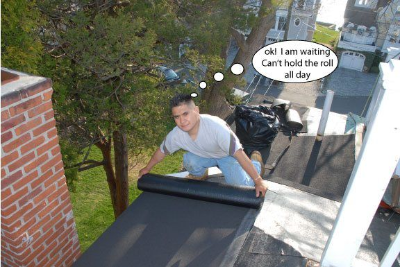 You can see how dangerous it was from this point of view. Small flat roofs like these are not fun to do.