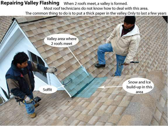 Valley areas are prone to leak due to the lack of using proper materials