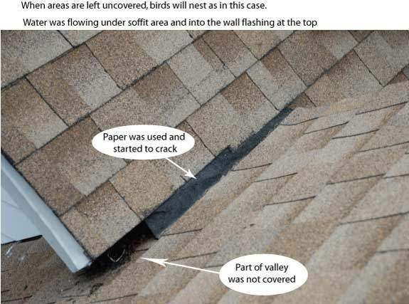 Roof Leak Causes roof valley flashing - common problem that causes leaks. darien