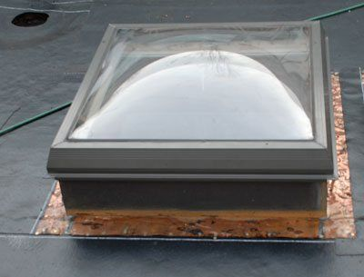 Curb flashing on a skylight- Before the  rubber roof is connected to the flashing