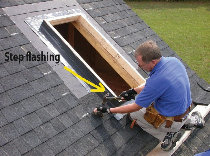 You will see the first step flashing metal as he installs the shingles around the skylight.