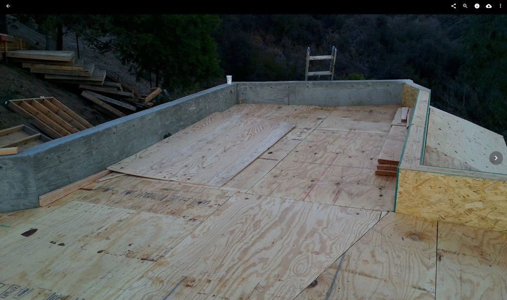 "Flat Roof Los Angeles - 1/2"" plywood deck installed"