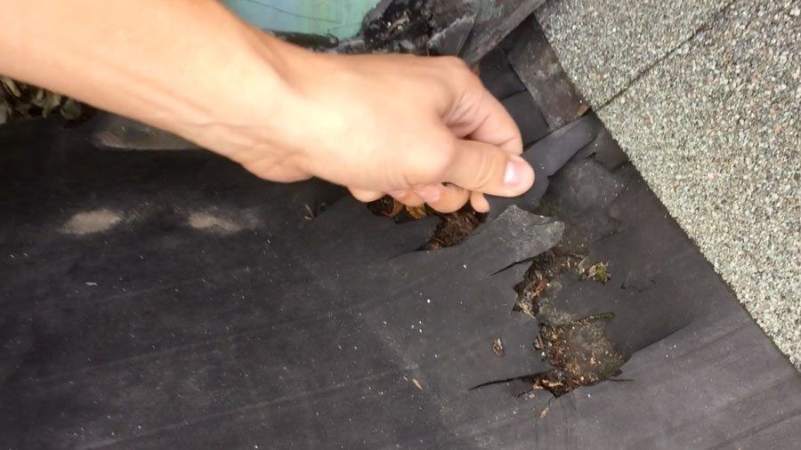 EPDM Roofing - This area of the roof was destroyed by harmful UV exposure.