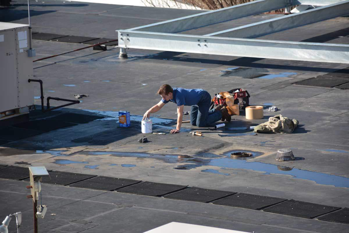 Rubber Membrane Roof being patched