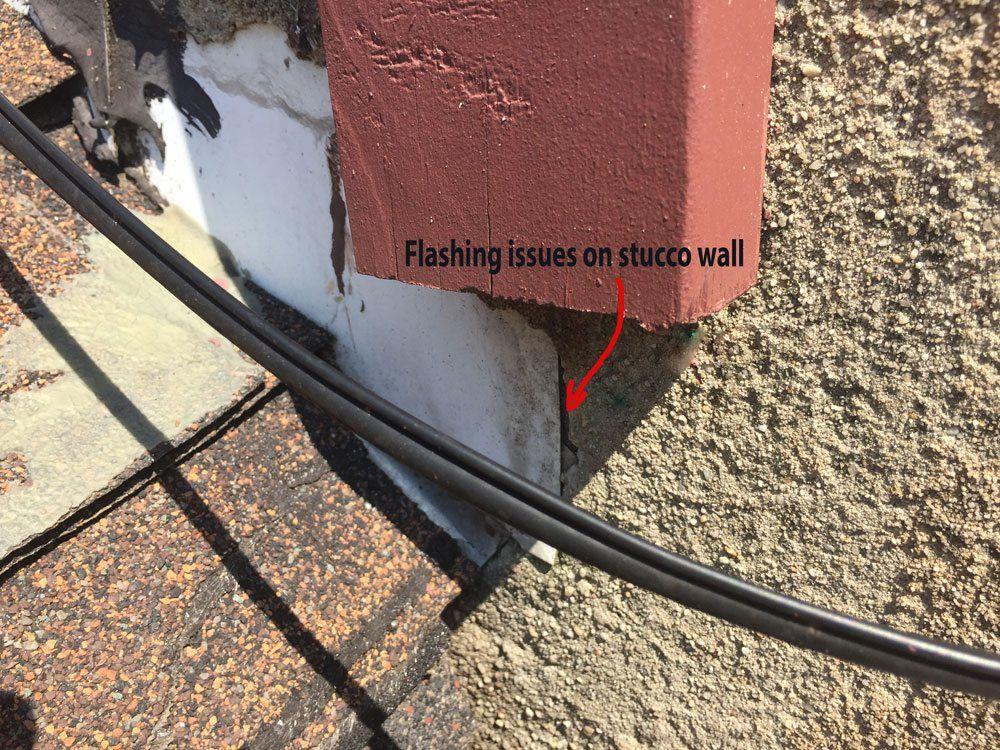 Flashing on stucco wall need repair